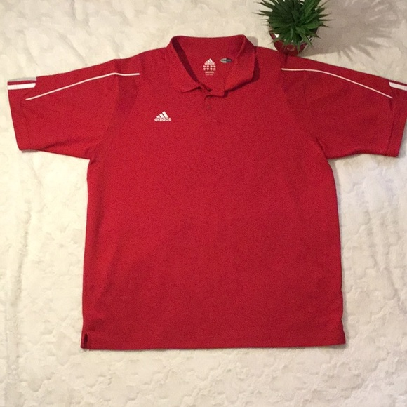 Activewear Tops Adldas Climacool Red And White New Polo Top Size Medium